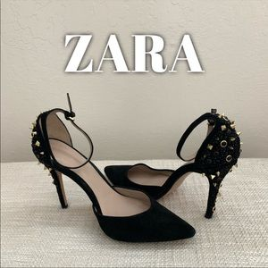 Zara Women's Black Ankle Strap Studded Heels